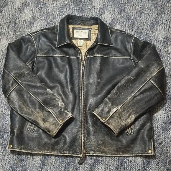 761a516a2 RARE Vintage ORVIS Leather Bomber Jacket Men's XXL
